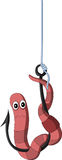 Cartoon worm on a hook Stock Images