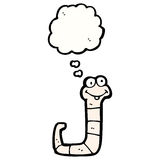 Cartoon worm with thought bubble Stock Photos