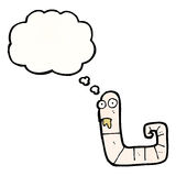 Cartoon worm with thought bubble Royalty Free Stock Photography