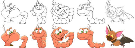 Cartoon worms and bat set Royalty Free Stock Photos