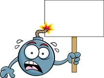 Cartoon worried bomb with a lit fuse holding a sign. Stock Images