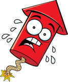 Cartoon Worried Firecracker. Cartoon illustration of a worried firecracker royalty free illustration