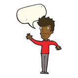 Cartoon worried man reaching out with speech bubble Royalty Free Stock Photo