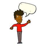 Cartoon worried man reaching out with speech bubble Stock Photos