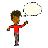 Cartoon worried man reaching out with thought bubble Royalty Free Stock Images