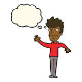 Cartoon worried man reaching out with thought bubble Royalty Free Stock Photography