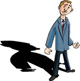 Cartoon of worried man with a shadow behind him Royalty Free Stock Image