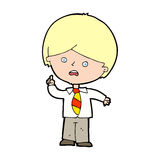 Cartoon worried school boy raising hand Royalty Free Stock Images