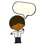 cartoon worried school boy raising hand with speech bubble Royalty Free Stock Image