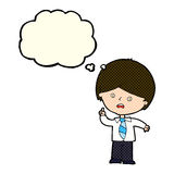Cartoon worried school boy raising hand with thought bubble Royalty Free Stock Photo