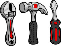 Cartoon Wrench Hammer and Screw Driver. Cartoon Image of Home Repair Tools Hammer, Wrench and Screwdriver Royalty Free Stock Photo