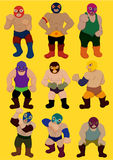 Cartoon wrestler icon Royalty Free Stock Images