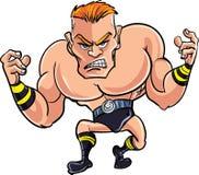Cartoon wrestler ready to fight. Isolated on white Stock Photo