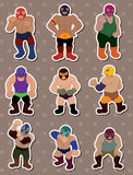 Cartoon wrestler stickers Stock Photos