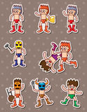 Cartoon wrestler stickers Stock Image