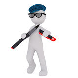 Cartoon Writer in Cap and Glasses with Large Pen. 3d Rendering of Cartoon Figure Wearing Cap and Glasses Uncapping Large Pen in front of White Background Stock Photos