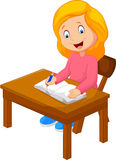 Cartoon writing text in the book Royalty Free Stock Images