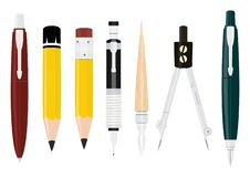 Cartoon writing tools. Cartoon writing tools collection. Pen, pencil, pencil compass, Flat vector royalty free illustration