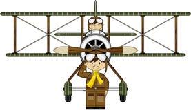 Cartoon WW1 Biplane and Pilots Stock Photography