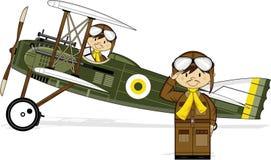 Cartoon WW1 Biplane and Pilots Royalty Free Stock Photos
