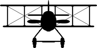 Cartoon WW1 Biplane Silhouette Stock Photography