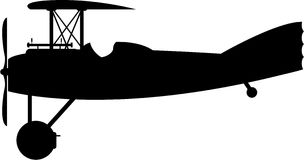 Cartoon WW1 Biplane Silhouette. Vector Illustration of a World War One Classic Biplane in Silhouette Royalty Free Stock Photography