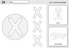 Cartoon x-ray boy and xylophone. Alphabet tracing worksheet: wri Stock Photography