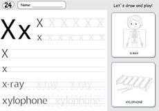 Cartoon X Ray Boy And Xylophone Alphabet Tracing Worksheet Wri Royalty Free Stock