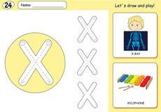 Cartoon X Ray Boy And Xylophone Alphabet Tracing Worksheet Stock Photos