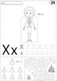 Cartoon x-rays sceleton and xmas tree with Santa. Alphabet traci Royalty Free Stock Photo