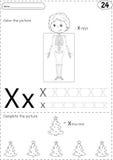 Cartoon x-rays and xmas tree. Alphabet tracing Royalty Free Stock Photos