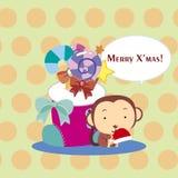 Cartoon Xmas card Stock Images