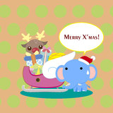 Cartoon Xmas card Royalty Free Stock Photos