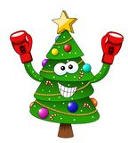 Cartoon xmas christmas tree boxer boxing gloves isolated. On white royalty free illustration