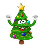 Cartoon xmas christmas tree exulting happiness isolated. On white royalty free illustration