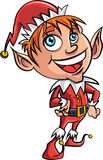 Cartoon Xmas elf. Isolated on white Royalty Free Stock Photo