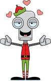 Cartoon Xmas Elf Robot Hug Stock Images