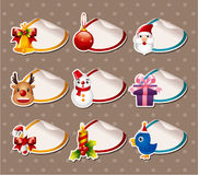 Cartoon Xmas Label Stickers Royalty Free Stock Photos