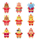 Cartoon xmas party animal icons set Royalty Free Stock Photos