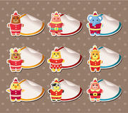 Cartoon xmas party animal Stickers Label Stock Photos