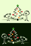 Cartoon Xmas tree & kids Royalty Free Stock Photography
