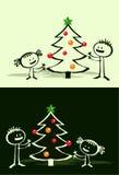 Cartoon Xmas tree & kids Royalty Free Stock Photography