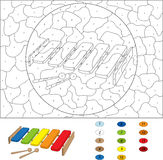Cartoon xylophone coloring book  on white. Color by numb Stock Photos