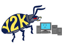 Cartoon Y2K millennium bug. Vector hand drawn cartoon illustration of a huge Y2K millennium bug crawling towards a frightened-looking computer, isolated on white Stock Photography