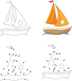Cartoon yacht. Coloring book and dot to dot game for kids Stock Photography