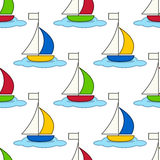 Cartoon Yacht Seamless Pattern Stock Photography