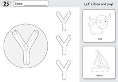 Free Cartoon Yak And Yacht. Alphabet Tracing Worksheet: Writing A-Z A Stock Images - 76730764