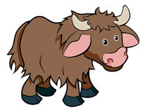 Cartoon Yak animal character. An illustration of a cute happy cartoon hairy Yak animal character Royalty Free Stock Photo