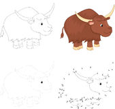 Cartoon yak. Dot to dot game for kids Stock Images