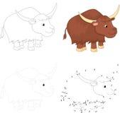 Cartoon yak. Dot to dot game for kids Stock Images